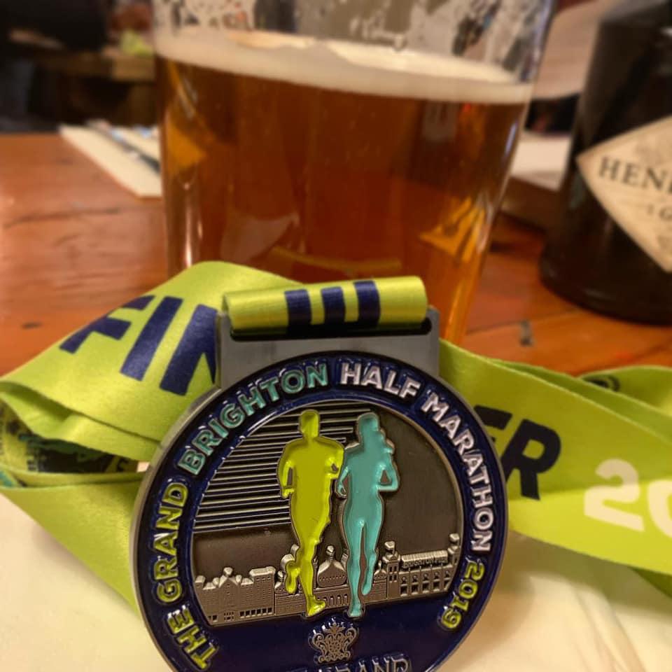 Brighton Half Marathon medal 2019 Tess Agnew fitness blogger