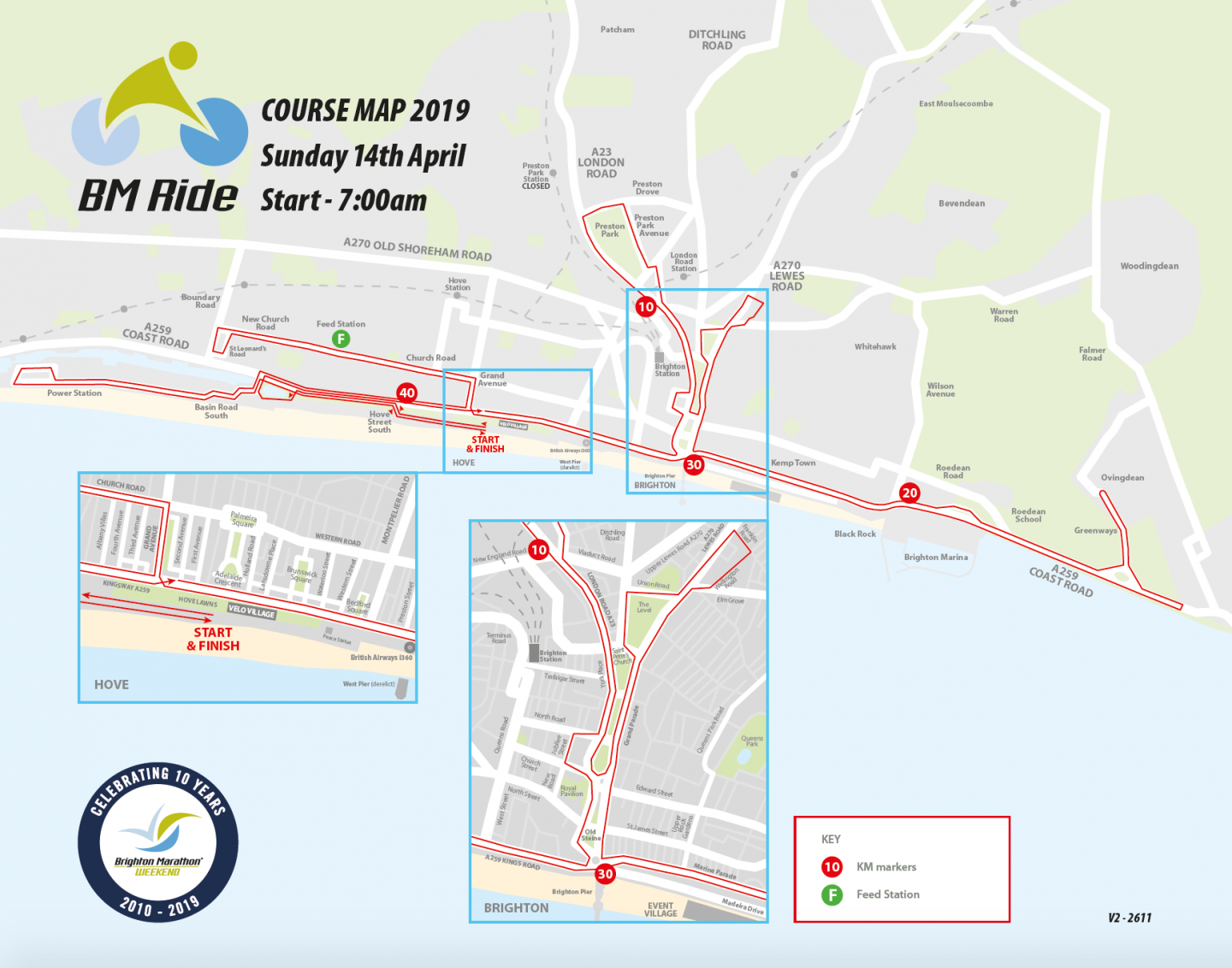 BM Ride course map - Brighton Marathon Weekend
