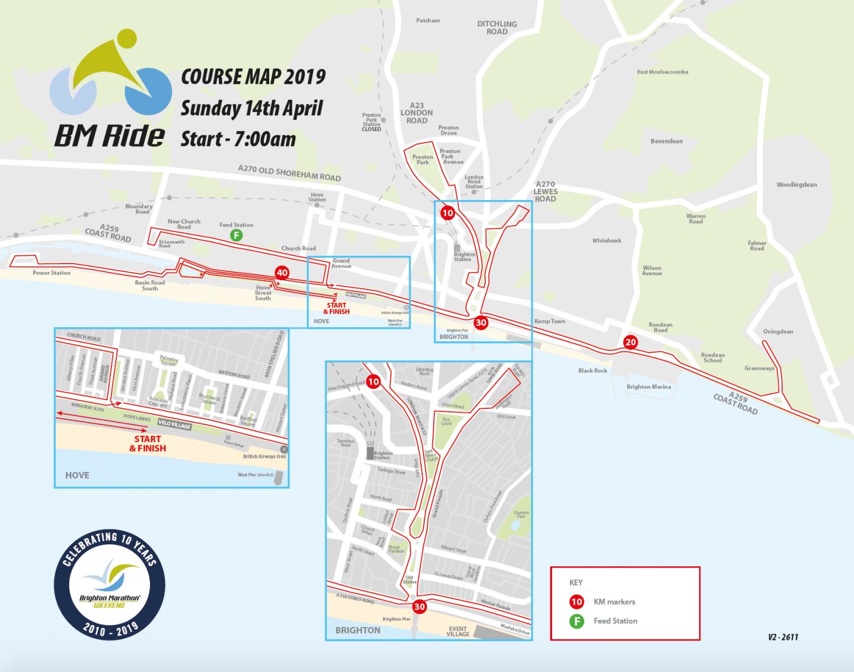 BM Ride course map - Brighton Marathon Weekend