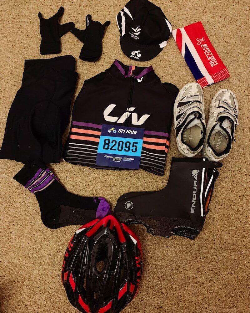 BM Ride Brighton Marathon Weekend flat lay - Tess Agnew fitness blogger