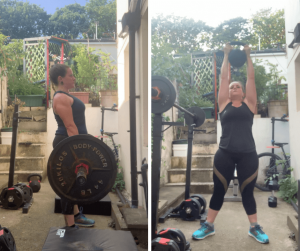 Tess Agnew fitness blogger lifting weights in the garden