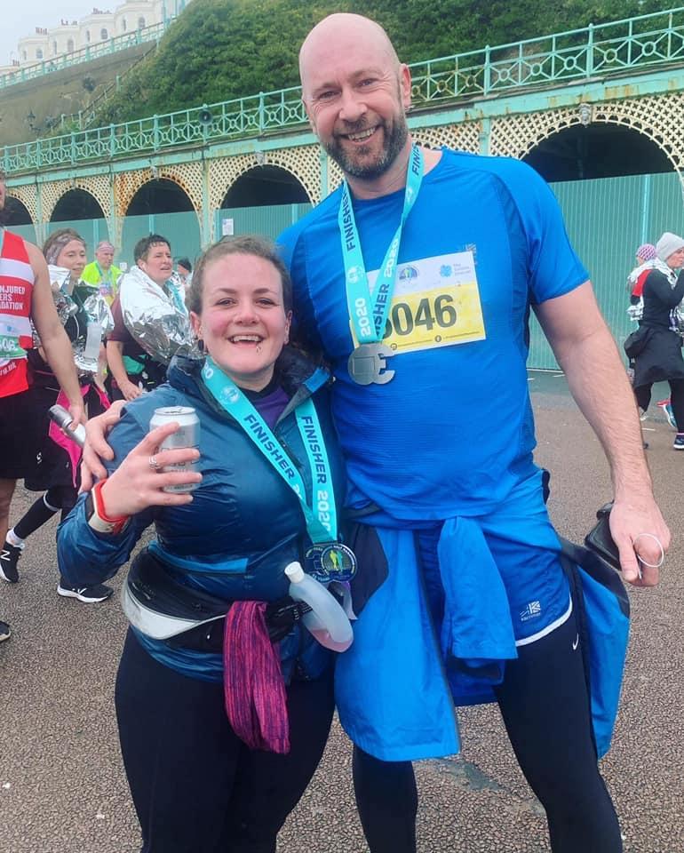 Brighton Half Marathon runner Tess Agnew at the finish