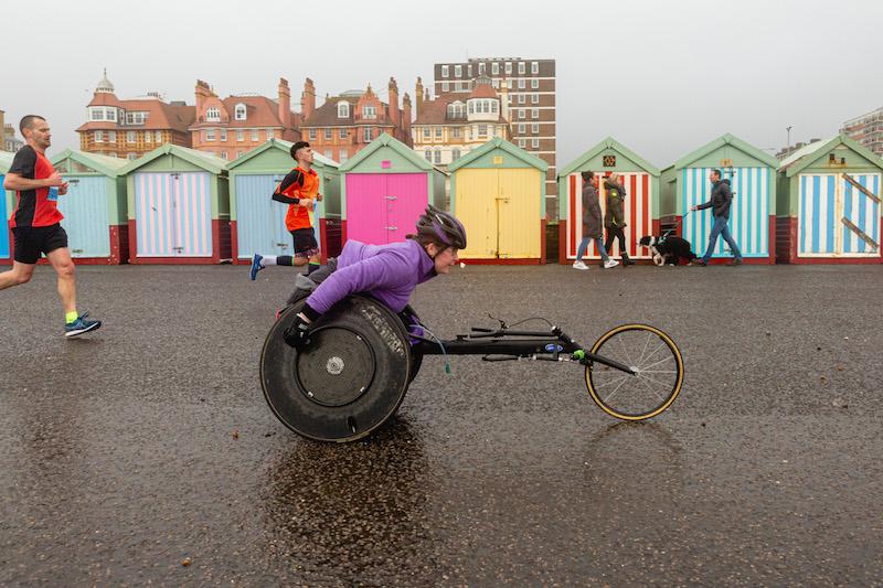 Brighton Half Marathon wheelchair racer